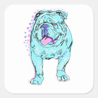 English Bulldog unique colorful pop dog art Square Sticker