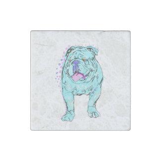 English Bulldog unique colorful pop dog art Stone Magnet