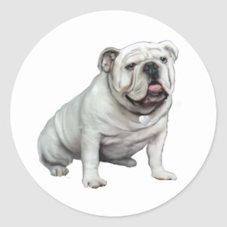 English Bulldog - White 1 Classic Round Sticker