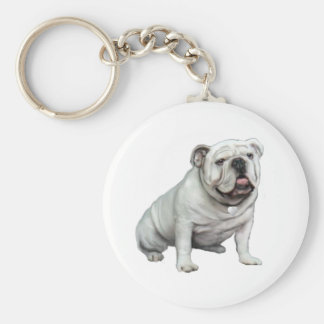 English Bulldog - White 1 Key Chains