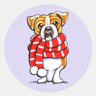 English Bulldog Winter Scarf Custom Color Stickers