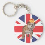English Bulldog with Crown and Union Jack Keychain