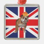 English Bulldog with Crown and Union Jack Christmas Ornaments