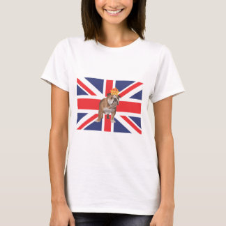 English Bulldog with Crown and Union Jack T-Shirt