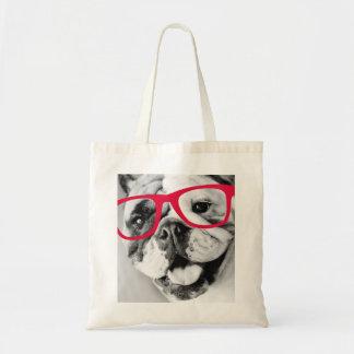 English Bulldog With Glasses Tote Bag