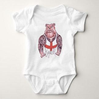 English Bulldog with Tribal Tattoo Baby Bodysuit