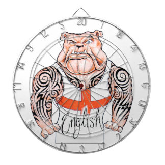 English Bulldog with Tribal Tattoo on Arms Dartboard