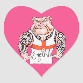 English Bulldog with Tribal Tattoo on Arms Heart Sticker