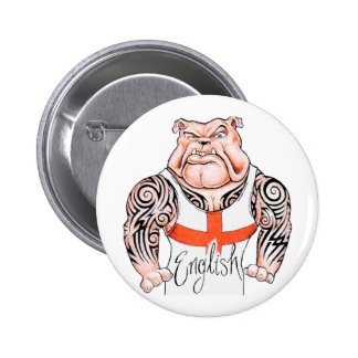 English Bulldog with Tribal Tattoo on Arms Pinback Button