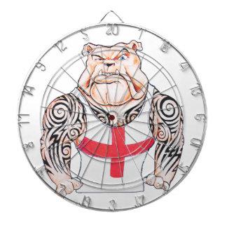 English Bulldog with Tribal Tattoos Dartboard With Darts