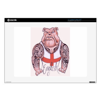 English Bulldog with Tribal Tattoos Skins For Laptops