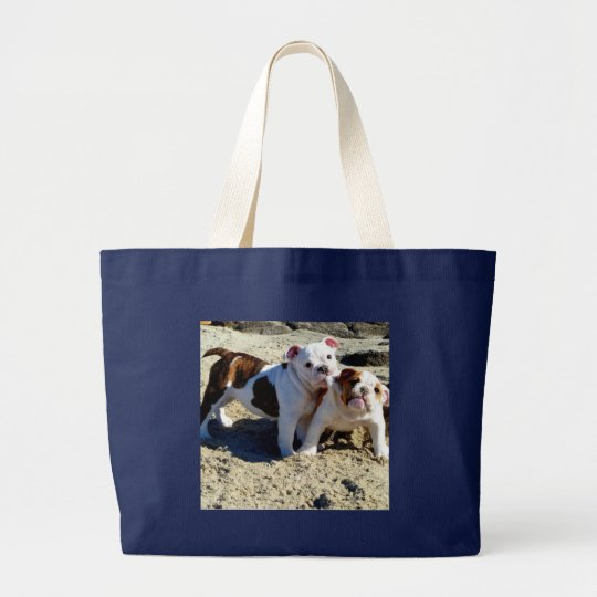 English Bulldogs Puppy Love! Large Tote Bag