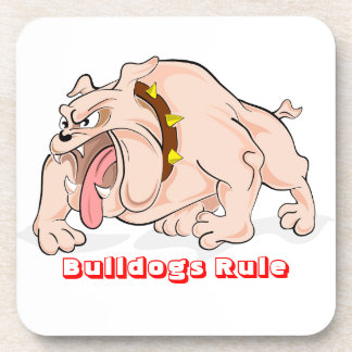 English Bulldogs Rule Cartoon Mascot Coaster Set