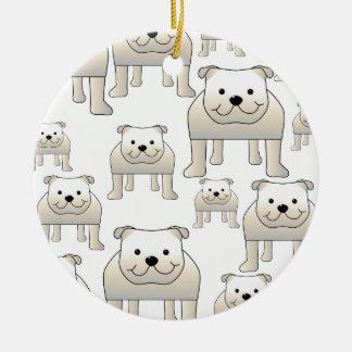English Bulldogs, White. Dogs Pattern. Ceramic Ornament