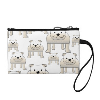English Bulldogs, White. Dogs Pattern. Coin Wallet