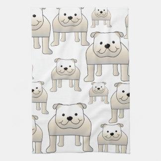 English Bulldogs, White. Dogs Pattern. Hand Towel