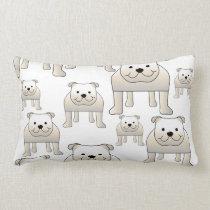 English Bulldogs, White. Dogs Pattern. Lumbar Pillow