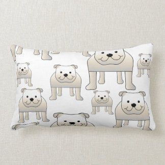 English Bulldogs, White. Dogs Pattern. Lumbar Pillow