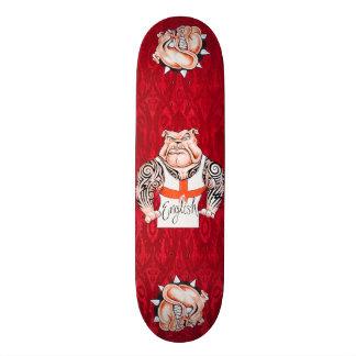 English Bulldogs with Tribal Tattoos Skateboard Deck