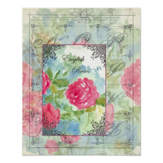 English Cabbage Roses Collage Print
