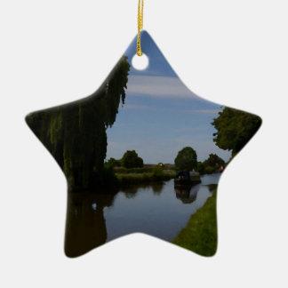 English Canal Scene Ceramic Ornament