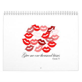 English-Catullus Five: 1,000 kisses Wall Calendars