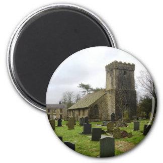 English churchyard view 2 inch round magnet