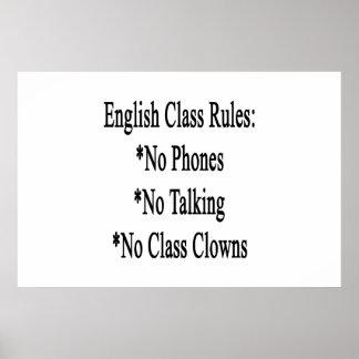 English Class Rules No Phone No Talking No Class C Posters