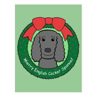 English Cocker Spaniel Christmas Postcard