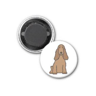 English Cocker Spaniel Dog Cartoon 1 Inch Round Magnet