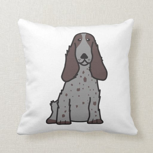 English Cocker Spaniel Dog Cartoon Throw Pillows