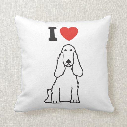 English Cocker Spaniel Dog Cartoon Throw Pillow