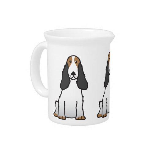 English Cocker Spaniel Dog Cartoon Beverage Pitcher