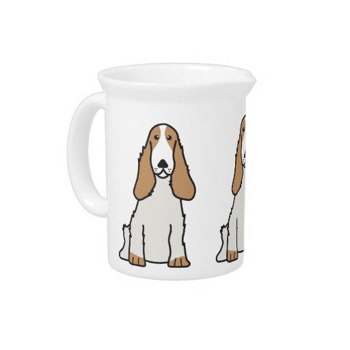 English Cocker Spaniel Dog Cartoon Beverage Pitchers