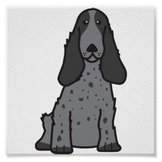 English Cocker Spaniel Dog Cartoon Poster