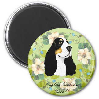 English Cocker Spaniel ~ Green Leaves Design 2 Inch Round Magnet