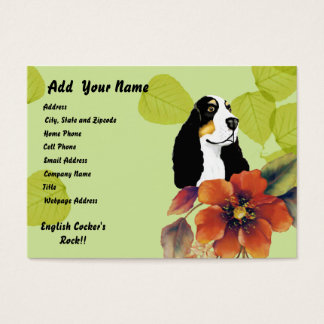 English Cocker Spaniel ~ Green Leaves Design Business Card