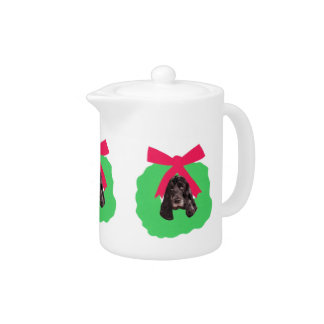 English Cocker Spaniel Holiday Wreath Teapot