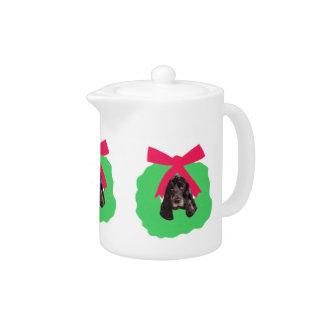 English Cocker Spaniel Holiday Wreath Teapot