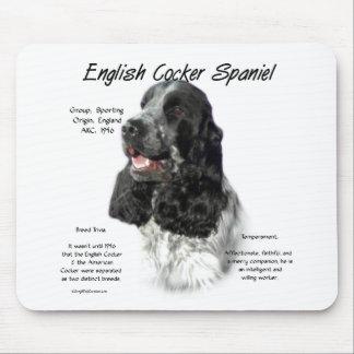 English Cocker Spaniel (parti/b&w) History Design Mouse Pad