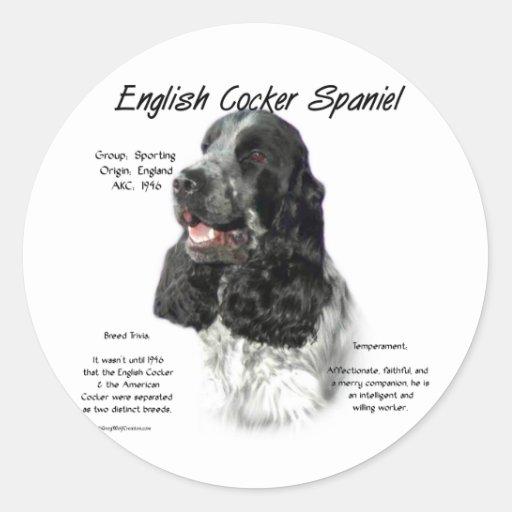English Cocker Spaniel (parti/b&w) History Design Stickers