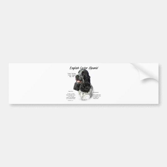 English Cocker Spaniel (parti) History Design Bumper Sticker