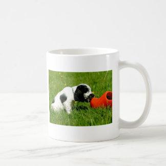 English Cocker Spaniel Puppy with Red Clog Coffee Mug