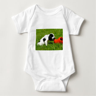 English Cocker Spaniel Puppy with red clog Infant Creeper