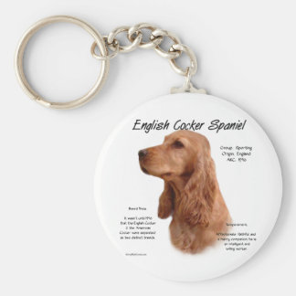 English Cocker Spaniel (red) History Design Keychain