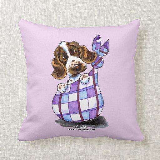 English Cocker Spaniel Sack Puppy Throw Pillows