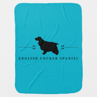 English Cocker Spaniel silhouette -1- Swaddle Blanket