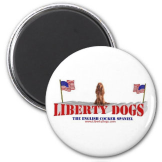English Cocker Spaniel with Flags Magnet