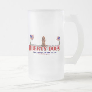 English Cocker Spaniel with Flags 16 Oz Frosted Glass Beer Mug