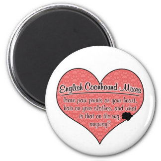 English Coonhound Mixes Paw Prints Dog Humor 2 Inch Round Magnet